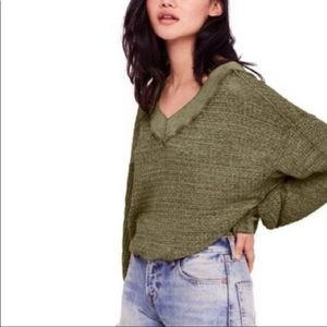 """Free People """"Southside"""" Thermal V-Neck Sweater- L"""